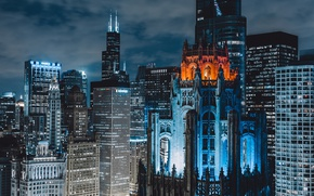Wallpaper USA, the city, night, home, Chicago