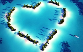 Picture love, fantasy, scenery, Heart islands