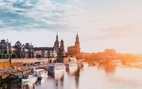 Picture river, bridge, Germany, sunset, Dresden, street, boats, architecture, sunlight, church, baroque, River Elbe