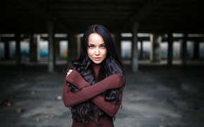 Picture girl, photo, photographer, blue eyes, model, lips, face, brunette, portrait, mouth, sweater, depth of field, …