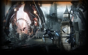Picture London, Big Ben, the reapers, Mass Effect 3, invasion, Fallen Earth