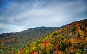Picture autumn, forest, the sky, clouds, mountains, slope