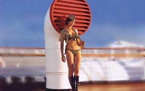 Picture woman, desire, ship