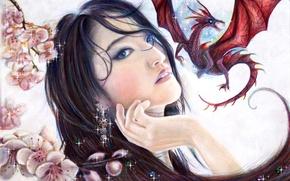 Picture look, girl, dragon, beauty, art, Mulan
