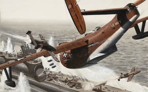 Wallpaper submarine, sea, war, American, Japanese, the plane
