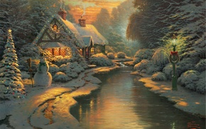 Wallpaper forest, snow, lights, figure, winter, lantern, house, snowman, tree, river, painting, Christmas, Landscapes, fabulous, New ...
