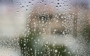 Picture glass, water, drops, after the rain, macro