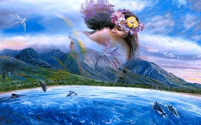 Picture sea, mountains, palm trees, bird, shore, figure, pair, dolphins, lovers, painting, seascape, Steve Sundram, Held …