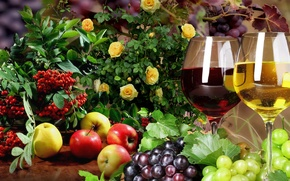 Picture apples, roses, glasses, grapes, fruit, still life, Rowan