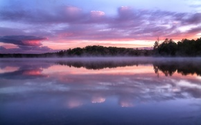 Picture reflection, fog, trees, Wisconsin, lake, the evening, haze, clouds, the sky, sunset, forest, USA