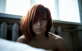 Picture portrait, freckles, red-haired beauty