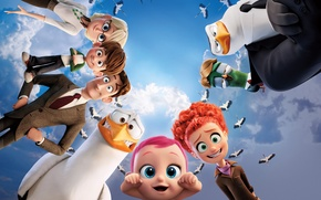Wallpaper cartoon, clouds, Storks, Storks, the sky, fantasy, characters