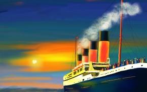 Picture sea, the sun, smoke, picture, pipe, passengers, ship