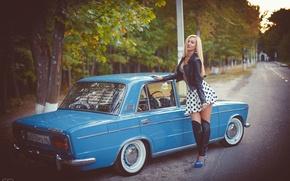 Wallpaper machine, girl, Auto, classic, Lada, auto, Lada, VAZ, BPAN, Without Landing Auto No