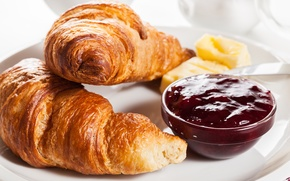 Picture Breakfast, cakes, jam, berries, growing, breakfast, croissant, jam