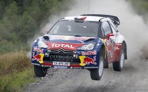 Picture Speed, Race, Citroen, Citroen, DS3, WRC, Rally, Sebastien Loeb, In the air, The front, Flies