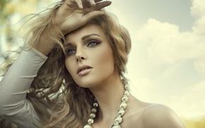 Picture look, hands, shoulders, blonde, the wind, eyes, hair