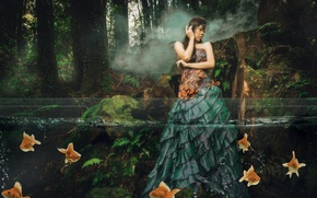 Picture forest, water, girl, fish, the situation, dress, Asian