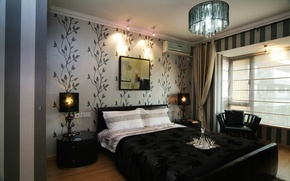 Picture design, style, lamp, bed, interior, picture, chair, chandelier, bedroom