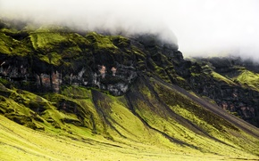 Picture clouds, mountains, nature, South of Iceland