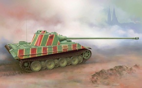 Picture war, art, painting, tank, ww2, Panther tank
