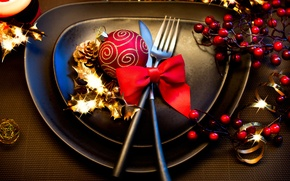 Picture winter, red, table, ball, devices, New Year, Christmas, plates, dishes, bow, Christmas, black, holidays, New …
