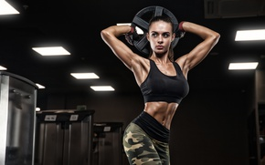 Picture brunette, pose, female, workout, fitness