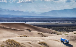 Picture The view from the top, 506, Mountains, Dune, Truck, Sand, Kamaz, Blue, Rally, KAMAZ, Dakar, ...