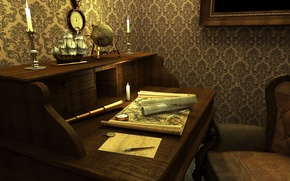 Picture table, room, Wallpaper, watch, ship, map, candle, picture, pipe, chair, pencil, globe, line, the compass