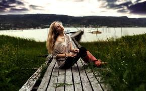 Picture girl, lake, mood