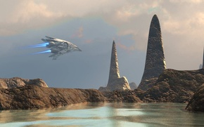 Picture sky, water, clouds, rocks, spaceship, contest starter