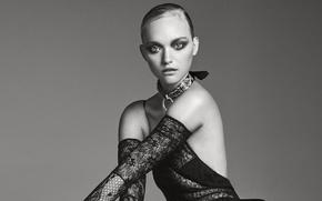 Wallpaper dress, photoshoot, makeup, hairstyle, It, Gemma Ward, Gemma Ward, model, Georges Antoni, outfit, background, black ...