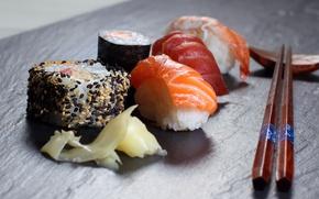 Wallpaper food, sticks, sushi