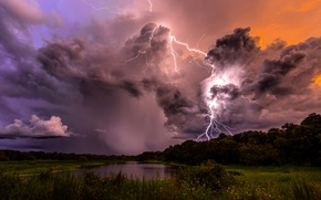 Picture the sky, clouds, trees, clouds, storm, nature, lake, zipper, the evening, The storm
