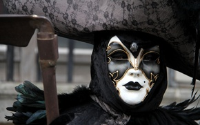 Picture death, mask, costume, Venice, carnival