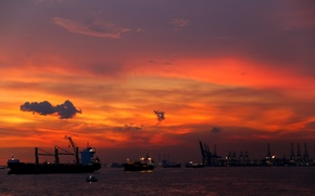 Picture landscape, sunset, ships, port