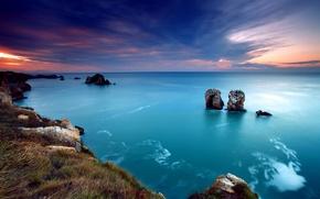 Wallpaper sea, the sky, rocks, sunset