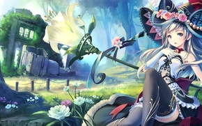Wallpaper hat, flowers, broom, art, nature, trees, anime, zuppon, house, girl, witch