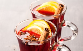 Picture Anis, winter, mulled wine, drink, star anise, orange, Cup, carnation, spices, cinnamon