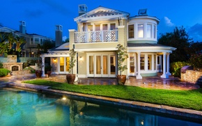 Picture the city, house, the evening, pool
