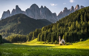 Picture Dolomites, Church, mountains, chapel, vegetation, hills, landscape, rocks, Italy, forest