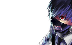 Picture look, anime, mask, white background, anime, red eye, white shirt, Tokyo Ghoul, Ken Kanek, Tokyo …