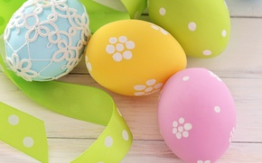 Wallpaper holiday, eggs, spring, yellow, blue, green, Easter, tape, pink, Easter, Easter