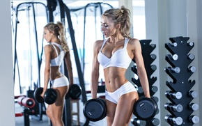 Picture blonde, pose, workout, fitness, competition, dumbbell, bodybuilder, hard work