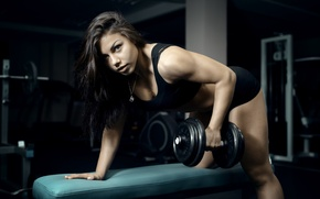 Picture look, pose, brunette, fitness, pose, training, workout, gym, fitness, gym, dumbbell, dumbbells, gym