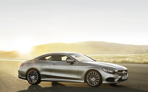 Picture Mercedes-Benz, The sun, Machine, Mercedes, Silver, Coupe, Side view, S-Class