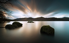 Picture landscape, nature, lake, stones, twilight