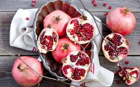 Picture twigs, red, winter, plate, grenades, still life, fruit, Anna Verdina, grain, branches