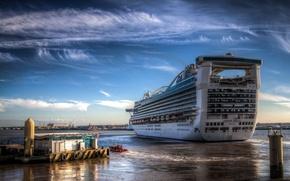 Picture SEA, SHIP, HORIZON, The OCEAN, The SKY, CLOUDS, The CITY, PIER, PIERCE, LANDSCAPE, LINER, PORT