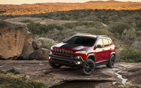 Picture light, sunset, mountains, stream, stones, lights, shadow, the evening, Jeep Cherokee